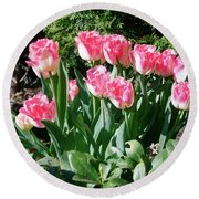 Pink And White Fringed Tulips Round Beach Towel