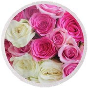 Pink And White Roses Bunch Round Beach Towel