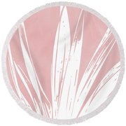 Pink And White Tropical Leaf- Art By Linda Woods Round Beach Towel by Linda Woods