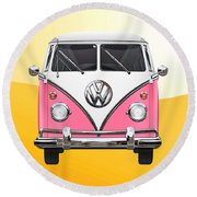 Pink And White Volkswagen T 1 Samba Bus On Yellow Round Beach Towel by Serge Averbukh