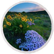 Pink And Yellow Sunset Round Beach Towel