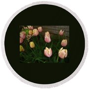 Pink And Yellow Tulips Round Beach Towel