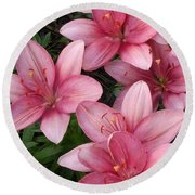 Pink Asiatic Lilies 2 Round Beach Towel