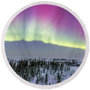 Pink Aurora Over Boreal Forest Round Beach Towel