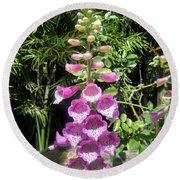 Pink Bell Flowers. Foxglove 03 Round Beach Towel
