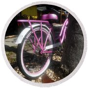 Pink Bicycle Round Beach Towel