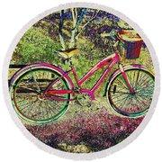 Pink Bicycle Round Beach Towel