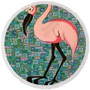 Pink Bird Round Beach Towel