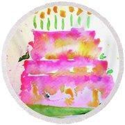Pink Birthday Cake Round Beach Towel