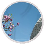 Pink Blossom And Glasshouse Round Beach Towel