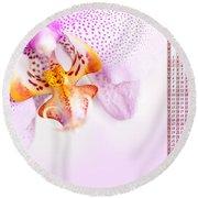 Pink Blotchy Orchid Calendar 2016 Round Beach Towel
