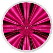 Pink Brocade Fabric Fractal 55 Round Beach Towel