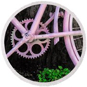 Pink Bycycle Resting On A Tree Round Beach Towel