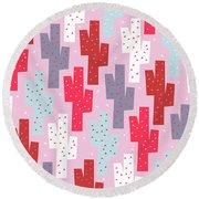 Pink Cactus Pattern Round Beach Towel