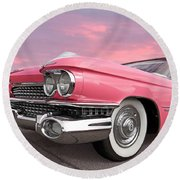 Pink Cadillac Sunset Round Beach Towel