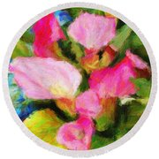 Pink Calla Lilly Round Beach Towel