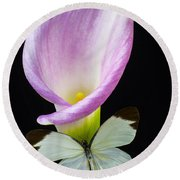 Pink Calla Lily With White Butterfly Round Beach Towel