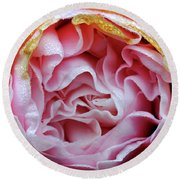 Pink Camellia Bud Round Beach Towel