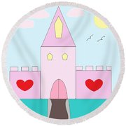 Pink Castle  Round Beach Towel