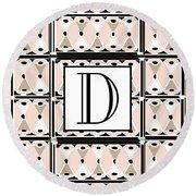 Pink Champagne Deco Monogram  D Round Beach Towel