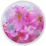 Pink Cherry Blossom Cluster Round Beach Towel