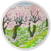Pink Cherry Garden In Blossom Round Beach Towel