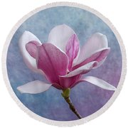 Pink Chinese Magnolia Flower Round Beach Towel
