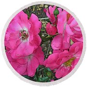 Pink Climbing Roses - Digitally Enhanced Round Beach Towel