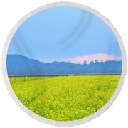 Pink Cloud Over The Mustard Fields Round Beach Towel