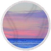 Pink Clouds Above The   Round Beach Towel