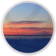 Pink Clouds Before Sunrise Two  Round Beach Towel