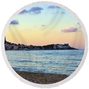 Pink Clouds Over Sicily Round Beach Towel