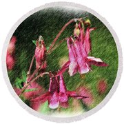 Pink Columbines Round Beach Towel