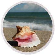 Pink Conch  Round Beach Towel