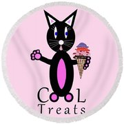 Pink Cool Treats - Cat Typography Round Beach Towel