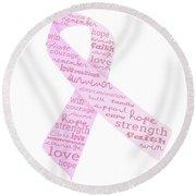 Pink Courage Round Beach Towel