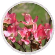 Pink Dogwood Blossoms Round Beach Towel