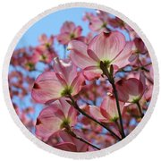 Pink Dogwood Flowers Landscape 11 Blue Sky Botanical Artwork Baslee Troutman Round Beach Towel
