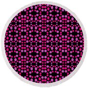 Pink Dots Pattern On Black Round Beach Towel