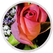 Pink Eye Rose Round Beach Towel