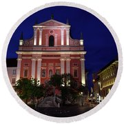 Pink Facade Of Franciscan Church Of The Annunciation Next To Urb Round Beach Towel