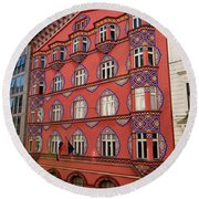 Pink Facade Of The Cooperative Business Bank Building Called Vur Round Beach Towel