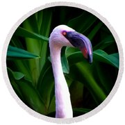 Pink Flamingo Bliss Round Beach Towel