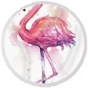 Pink Flamingo Watercolor Tropical Bird Round Beach Towel