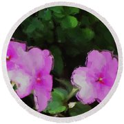 Pink Floral Watercolor Round Beach Towel