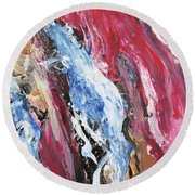 Pink Flow Abstract Round Beach Towel