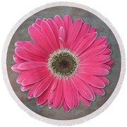 Pink Flower Round Beach Towel