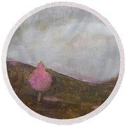 Pink Flowering Tree Round Beach Towel