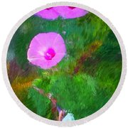 Pink Flowers 102310 Round Beach Towel