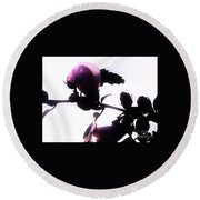 Pink Flowers In Empty Space Round Beach Towel